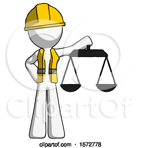 White Construction Worker Contractor Man Holding Scales of Justice by Leo Blanchette