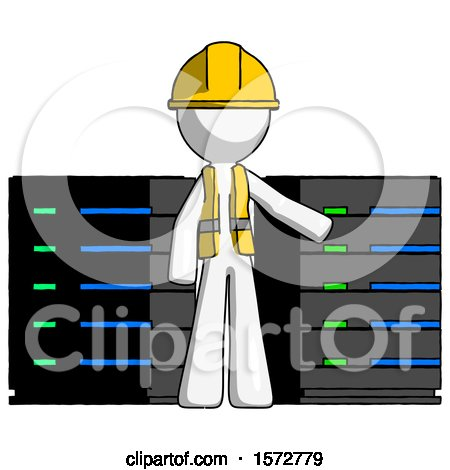 White Construction Worker Contractor Man with Server Racks, in Front of Two Networked Systems by Leo Blanchette