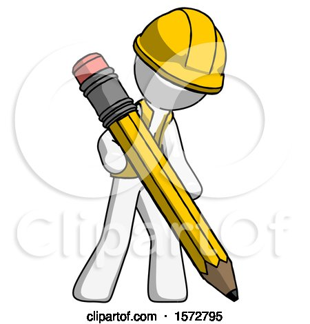White Construction Worker Contractor Man Writing with Large Pencil by Leo Blanchette