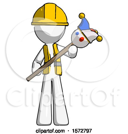 White Construction Worker Contractor Man Holding Jester Diagonally by Leo Blanchette