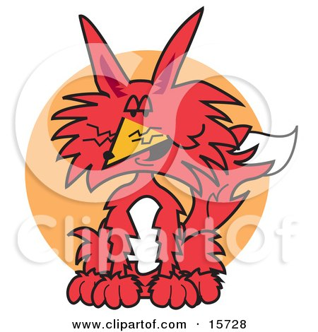 Seated Red And White Fox Clipart Illustration