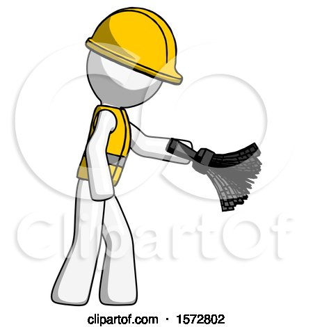 White Construction Worker Contractor Man Dusting with Feather Duster Downwards by Leo Blanchette
