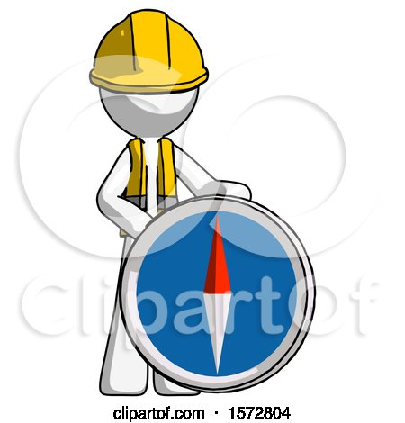 White Construction Worker Contractor Man Standing Beside Large Compass by Leo Blanchette
