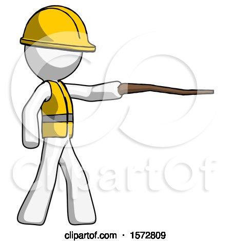 White Construction Worker Contractor Man Pointing with Hiking Stick by Leo Blanchette