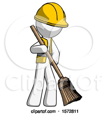 White Construction Worker Contractor Man Sweeping Area with Broom by Leo Blanchette