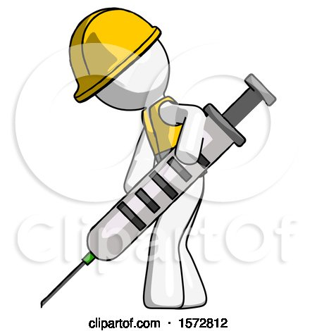 White Construction Worker Contractor Man Using Syringe Giving Injection by Leo Blanchette
