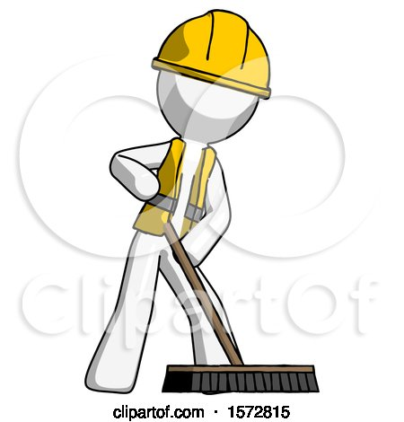 White Construction Worker Contractor Man Cleaning Services Janitor Sweeping Floor with Push Broom by Leo Blanchette