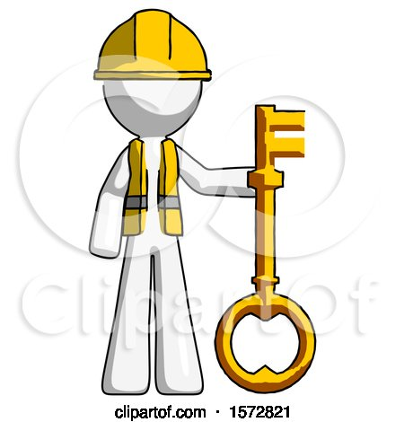 White Construction Worker Contractor Man Holding Key Made of Gold by Leo Blanchette