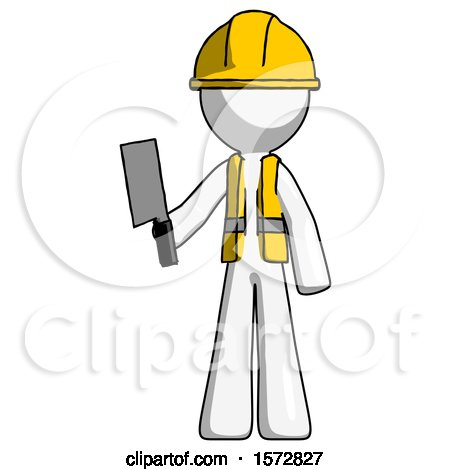 White Construction Worker Contractor Man Holding Meat Cleaver by Leo Blanchette