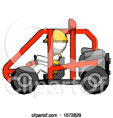 White Construction Worker Contractor Man Riding Sports Buggy Side View by Leo Blanchette