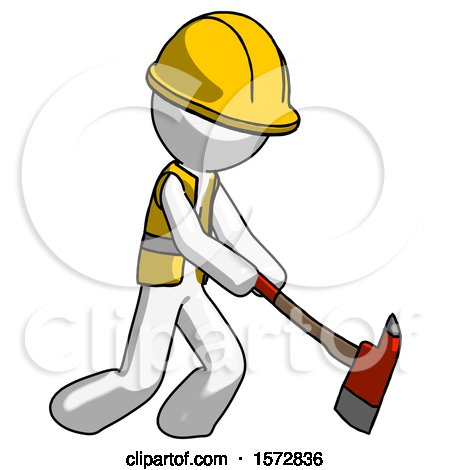 White Construction Worker Contractor Man Striking with a Red Firefighter's Ax by Leo Blanchette