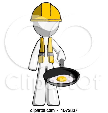 White Construction Worker Contractor Man Frying Egg in Pan or Wok by Leo Blanchette