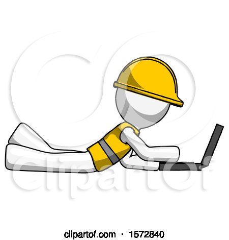 White Construction Worker Contractor Man Using Laptop Computer While Lying on Floor Side View by Leo Blanchette
