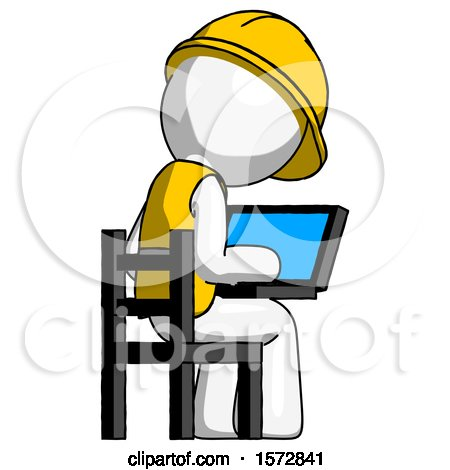 White Construction Worker Contractor Man Using Laptop Computer While Sitting in Chair View from Back by Leo Blanchette