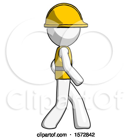White Construction Worker Contractor Man Walking Right Side View by Leo Blanchette