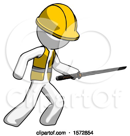 White Construction Worker Contractor Man Stabbing with Ninja Sword Katana by Leo Blanchette