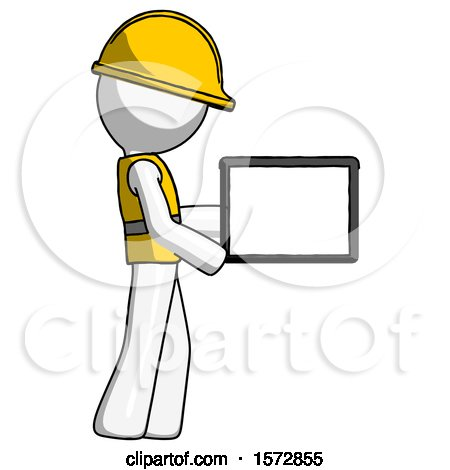 White Construction Worker Contractor Man Show Tablet Device Computer to Viewer, Blank Area by Leo Blanchette