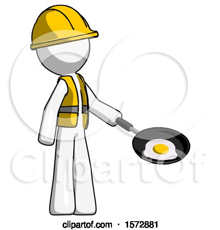 White Construction Worker Contractor Man Frying Egg in Pan or Wok Facing Right by Leo Blanchette