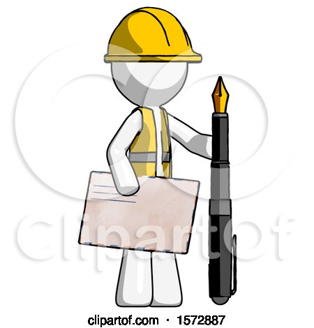 White Construction Worker Contractor Man Holding Large Envelope and Calligraphy Pen by Leo Blanchette