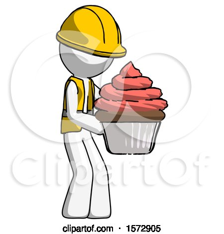 White Construction Worker Contractor Man Holding Large Cupcake Ready to Eat or Serve by Leo Blanchette