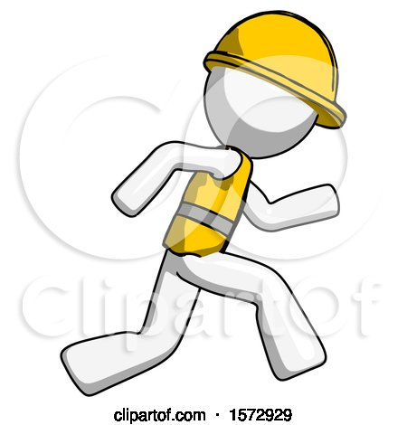 White Construction Worker Contractor Man Running Fast Right by Leo Blanchette