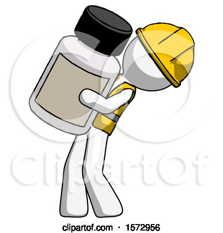 White Construction Worker Contractor Man Holding Large White Medicine Bottle by Leo Blanchette