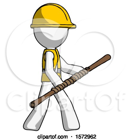 White Construction Worker Contractor Man Holding Bo Staff in Sideways Defense Pose by Leo Blanchette