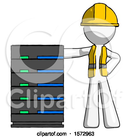 White Construction Worker Contractor Man with Server Rack Leaning Confidently Against It by Leo Blanchette