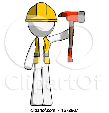 White Construction Worker Contractor Man Holding up Red Firefighter's Ax by Leo Blanchette