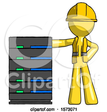 Yellow Construction Worker Contractor Man with Server Rack Leaning Confidently Against It by Leo Blanchette