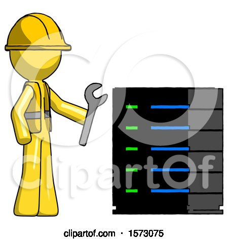 Yellow Construction Worker Contractor Man Server Administrator Doing Repairs by Leo Blanchette