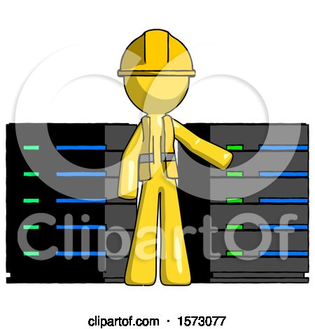Yellow Construction Worker Contractor Man with Server Racks, in Front of Two Networked Systems by Leo Blanchette