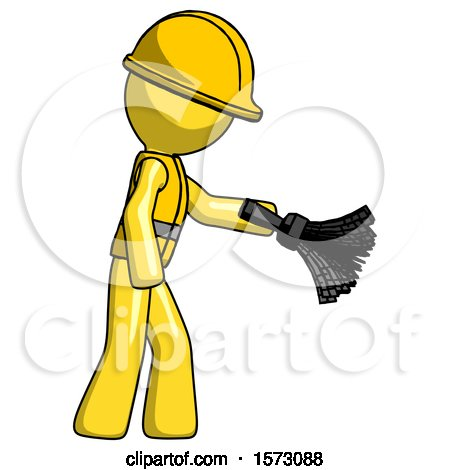 Yellow Construction Worker Contractor Man Dusting with Feather Duster Downwards by Leo Blanchette