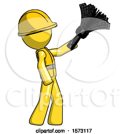 Yellow Construction Worker Contractor Man Dusting with Feather Duster Upwards by Leo Blanchette