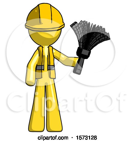 Yellow Construction Worker Contractor Man Holding Feather Duster Facing Forward by Leo Blanchette
