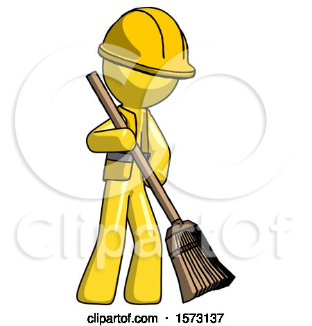 Yellow Construction Worker Contractor Man Sweeping Area with Broom by Leo Blanchette