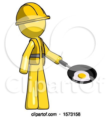 Yellow Construction Worker Contractor Man Frying Egg in Pan or Wok Facing Right by Leo Blanchette