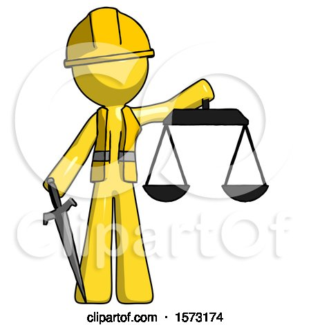 Yellow Construction Worker Contractor Man Justice Concept with Scales and Sword, Justicia Derived by Leo Blanchette