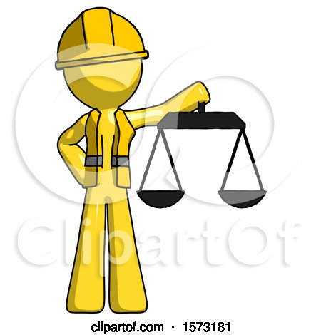 Yellow Construction Worker Contractor Man Holding Scales of Justice by Leo Blanchette