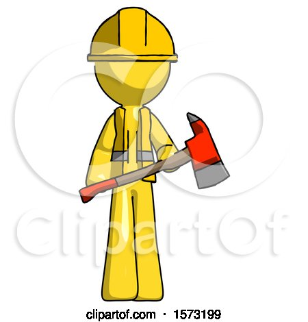 Yellow Construction Worker Contractor Man Holding Red Fire Fighter's Ax by Leo Blanchette