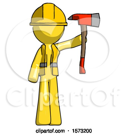 Yellow Construction Worker Contractor Man Holding up Red Firefighter's Ax by Leo Blanchette