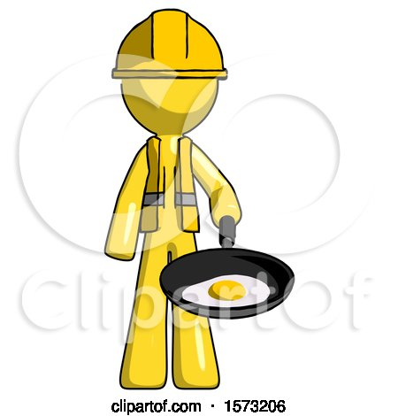 Yellow Construction Worker Contractor Man Frying Egg in Pan or Wok by Leo Blanchette