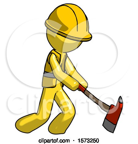 Yellow Construction Worker Contractor Man Striking with a Red Firefighter's Ax by Leo Blanchette