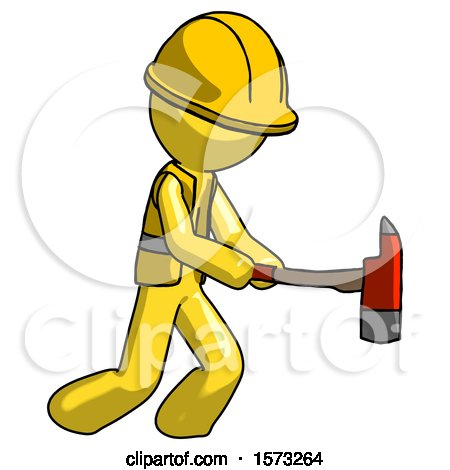 Yellow Construction Worker Contractor Man with Ax Hitting, Striking, or Chopping by Leo Blanchette