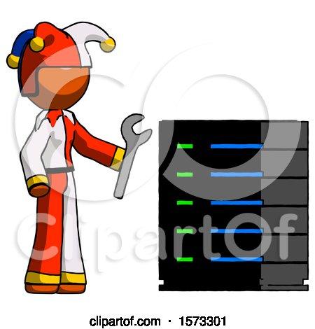 Orange Jester Joker Man Server Administrator Doing Repairs by Leo Blanchette