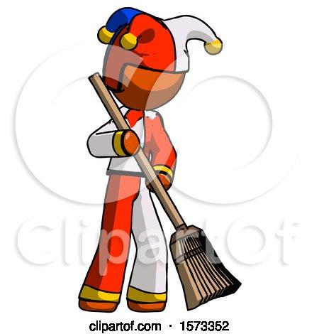 Orange Jester Joker Man Sweeping Area with Broom by Leo Blanchette