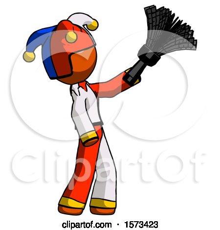 Orange Jester Joker Man Dusting with Feather Duster Upwards by Leo Blanchette