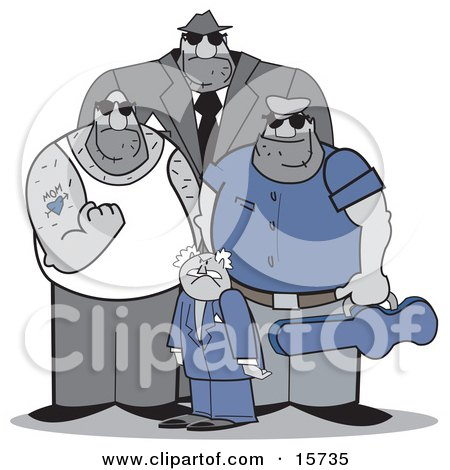 Group Of Mafia Men, One Really Short, One Really Tall, One Clenching His Fist And One Holding A Gun In A Case Clipart Illustration by Andy Nortnik