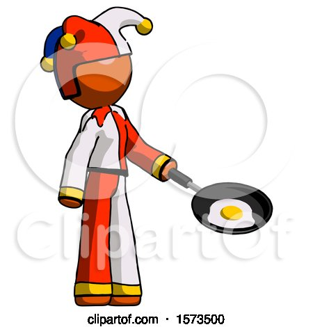 Orange Jester Joker Man Frying Egg in Pan or Wok Facing Right by Leo Blanchette