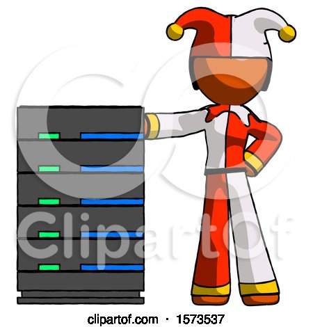 Orange Jester Joker Man with Server Rack Leaning Confidently Against It by Leo Blanchette